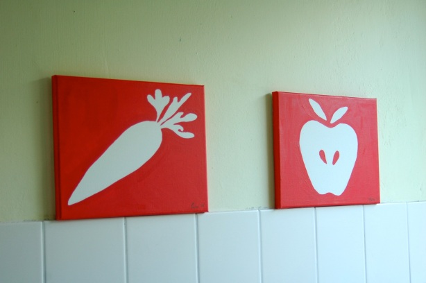 pictograms for the wall, vermillion pictures, vermillion wall paintings, kitchen artwork ideas