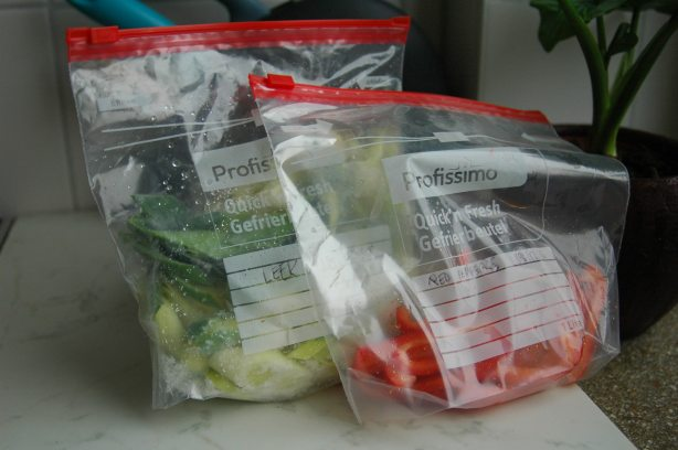 Frozen Vegetable Baggies, saving money on groceries, freezer rotation, OAMC