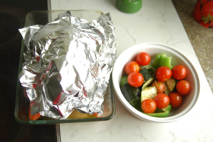 roast chicken dinner ingredients tin foil aluminium foil