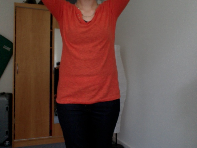 bright orange tunisian style sweater esprit
